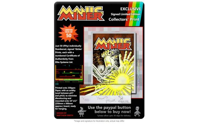 Manic Miner (Bug-Byte) - Signed Limited-Edition Collectors' Print #50 of 50